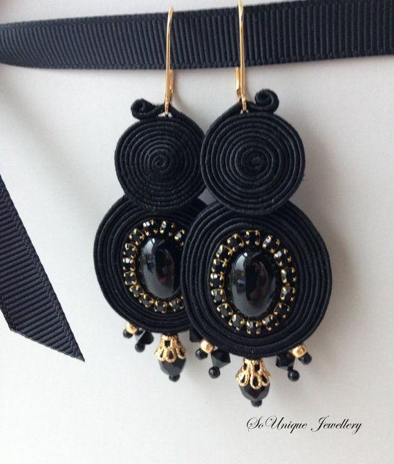Elegant Black Soutache Onyx Gemstone earrings. Black by SouniqueJewellery