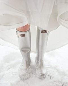 Zilveren Hunter laarzen voor de winter bruiloft