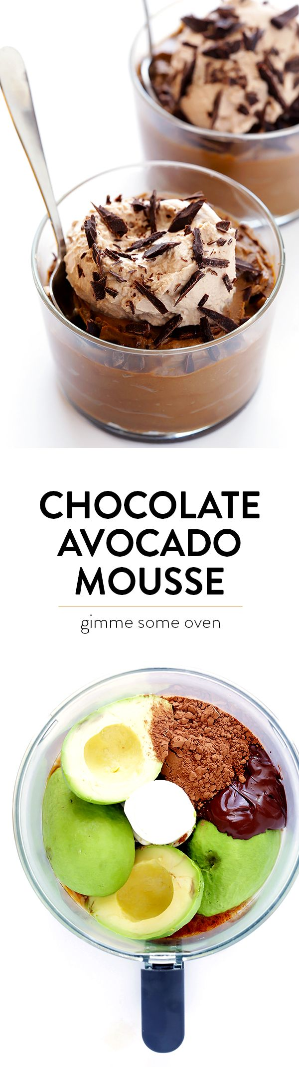 Dark Chocolate Avocado Mousse - super easy to make in the blender or food processor, it's made with healthier ingredients, and it tastes SO decadent and delicious! | gimmesomeoven.com
