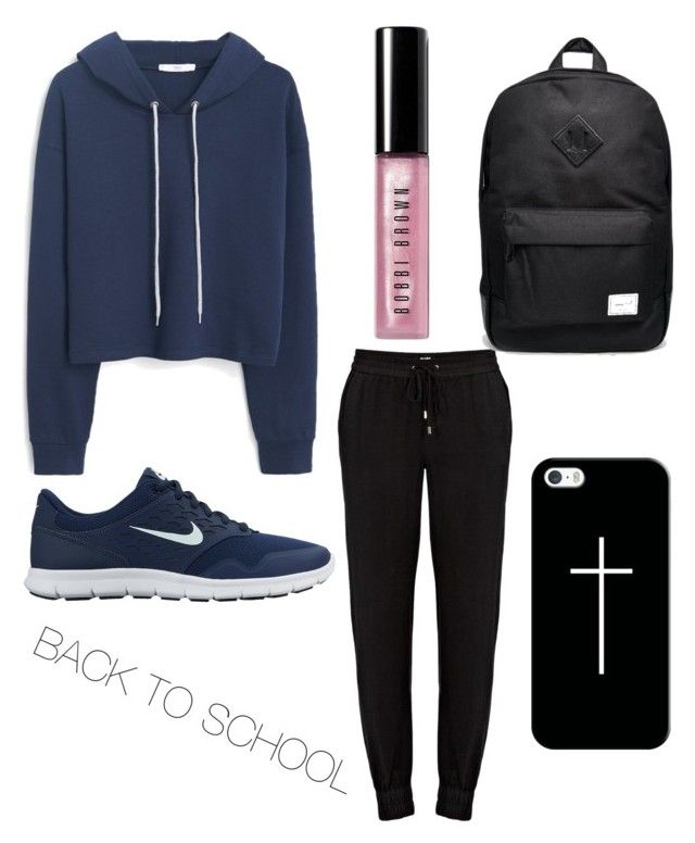 """Back to school edition!"" by jasminehekekire on Polyvore featuring MANGO, Paige Denim, NIKE, Herschel Supply Co., Casetify and Bobbi Brown Cosmetics"