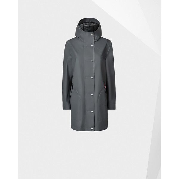 Hunter Womens Grey Rubberized Hunting Coat (495 CAD) ❤ liked on Polyvore featuring outerwear, coats, grey, lined raincoat, sport coat, rubber raincoat, gray coat and rubber rain coat #RaincoatsForWomenGray