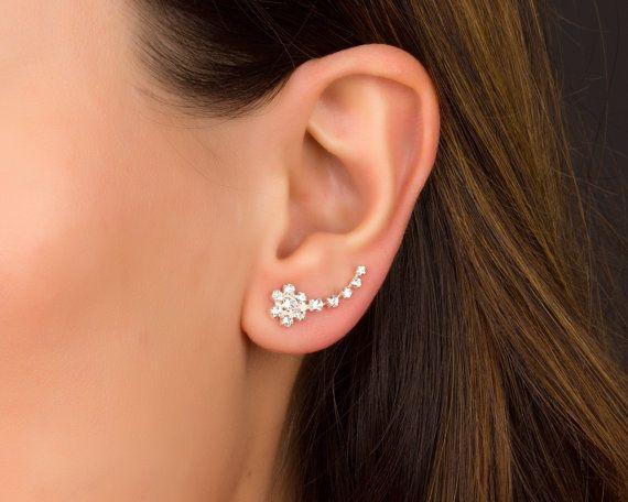 Flower Ear Cuff, Sterling Silver Ear Climber Earrings, Flower Earrings, Ear Climber, Crawler Earrings, Ear Pins, Ear Wrap Earrings | 0076EM