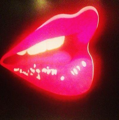 neon pink glow in the dark lips