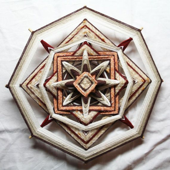 Large Natural Colours Mandala God's Eye by PsyMagic on Etsy, €60.00
