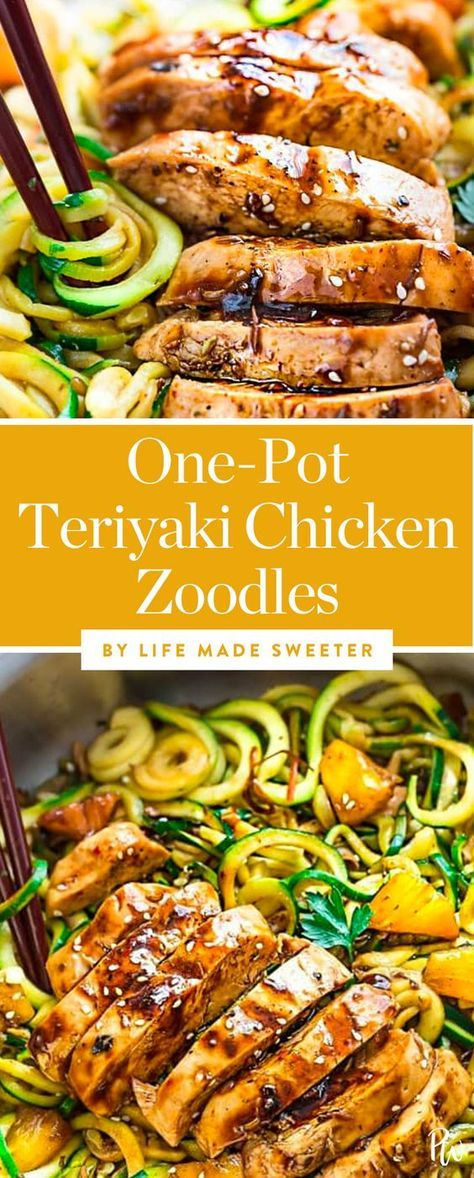 28 Easy One-Pot Dinners to Make Every Night in February// One Pot Teriyaki Chicken Zoodles by Life Made Sweeter. #zoodles #teriyakichicken #chickendishes #chickendinners #onepotmeals #onepot #onepotdinners #easydinners #weeknightdinners