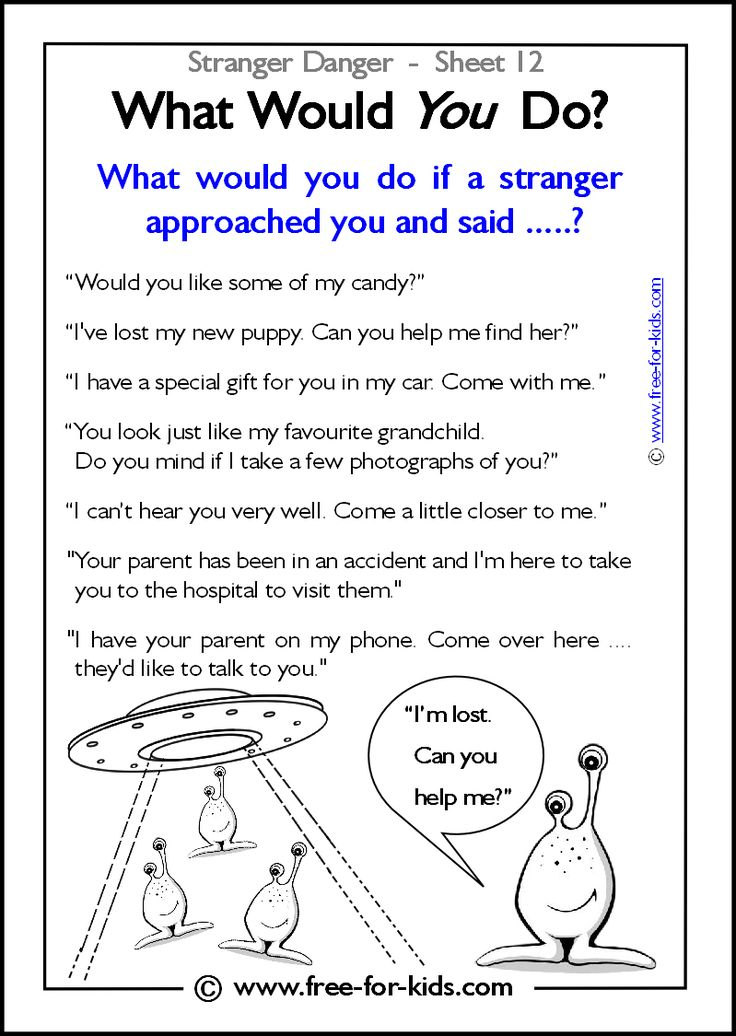 Responsibility Activity Sheets | More Stranger Danger Worksheets and Colouring Pages