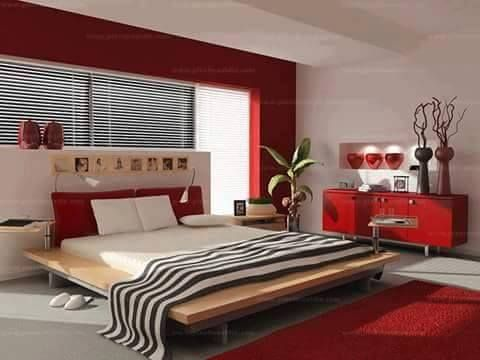 Nice Red, Black, And White Room Decor.