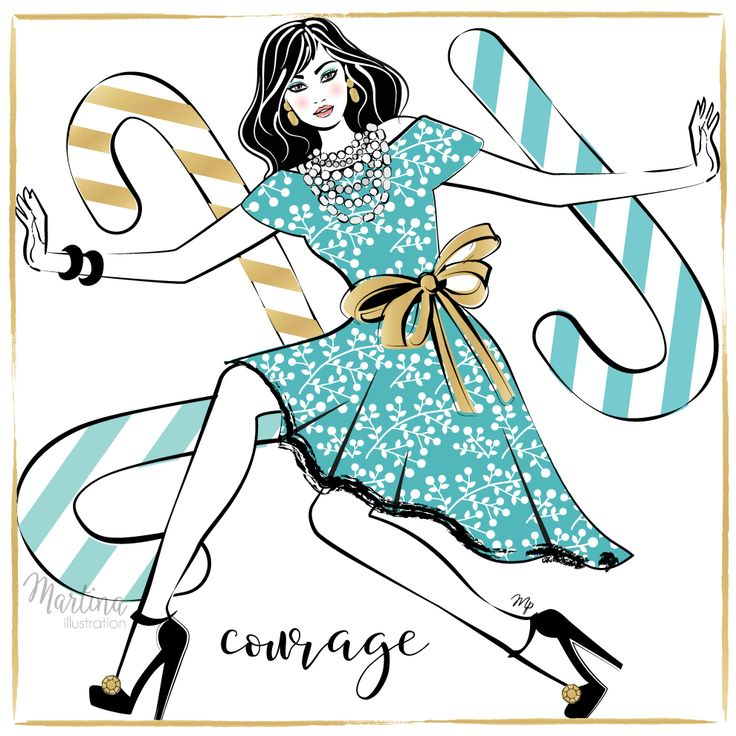 Stylish Advent Calendar DAY 9   I wish you COURAGE  To be different, to take risks, to say no. Or yes. Courage to be yourself in every situation and always looking forward to yet another tomorrow. No matter what it may bring.  Christmas stylish illustration