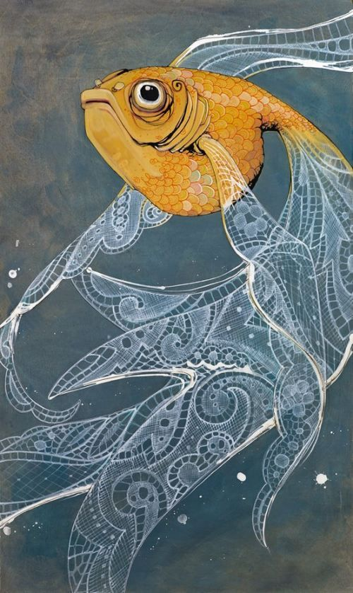 Art print, orange goldfish, with flowing white lace fins on blue stained birch…