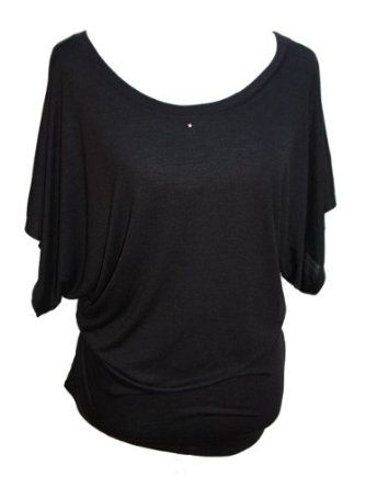 YogaColors Crystal Boatneck Dolman Sleeve Blouse Jersey Tee Up to Plus Size