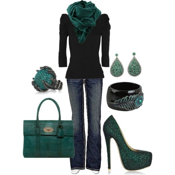 Casual Outfit: Shoes, Casual Outfit, Dreams Closet, Color Schemes, Color Combos, Emeralds Green, Shades Of Green, Dark Teal, Black