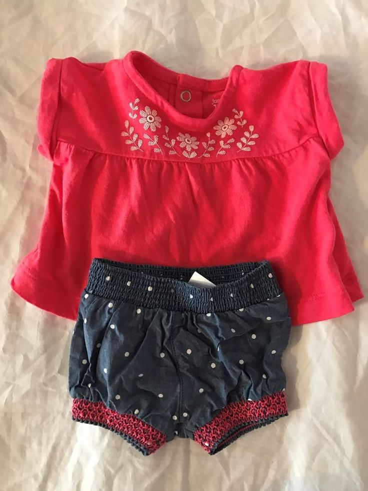 Newborn Just for you Carter's Coral shirt blue jean shorts with corral Outfit #Carters #Everyday