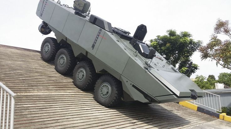 The Terrex 2 incorporates the best features of the current Terrex infantry carrier vehicle and the prototype vehicle that was developed to participate in the US Marine Corps' ongoing Amphibious Combat Vehicle programme. The vehicle is seen here undergoing mobility trials at its test facility in Singapore, with its raised snorkel and specially designed radiator system on the forward section of the roof. (ST Kinetics)