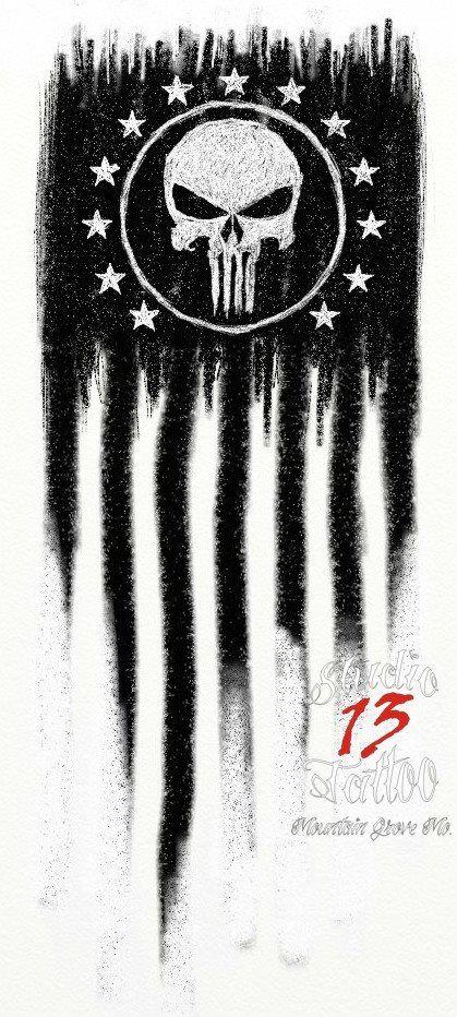 #original #punisher #flag #tattoo #idea #13 #stars #studio13tattoomg