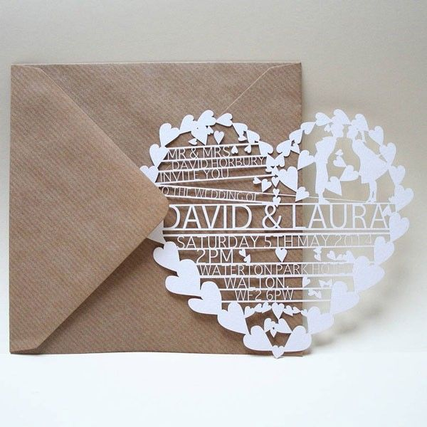 This heart invitation shows off one of the biggest trends of the moment–cut paper. With its myriad of hearts and clever spacing, it is a perfectly modern way to invite your guests.   See more spring wedding invitations here: http://www.mywedding.com/articles/spring-wedding-invitations/