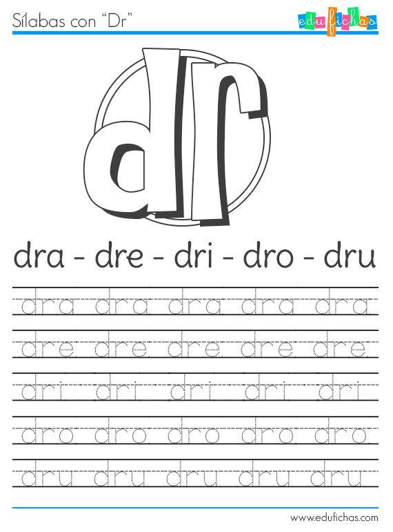 Sílabas con DR http://www.edufichas.com/actividades/lectoescritura/silabas/silabas-con-d-y-dr/ #silabas #caligrafia #letras #worksheet #preschool #spanish