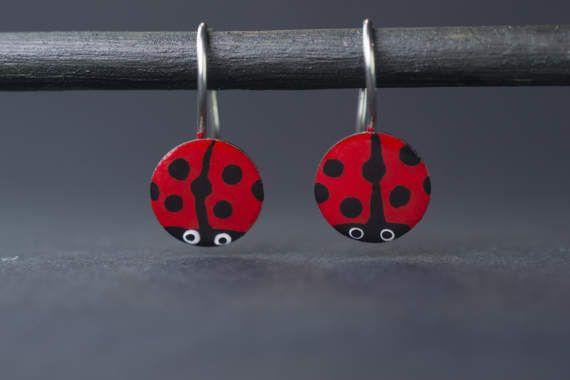 Hand-painted ladybug earrings earrings for girls by CinkyLinky