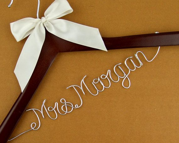 Promotion personalized wedding hanger wire name bride for Wedding dress hangers with name