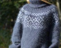 KLAAR handgemaakte IJSLANDSE trui mohair trui pullover fuzzy hand gebreide Tneck zachte trui ontspannen fit warme trui heren trui Dukyana