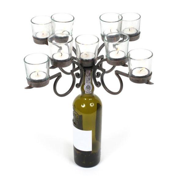 Large Votive Wine Bottle Candelabra