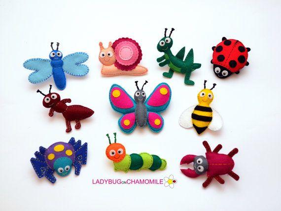 Felt magnet bugs  CHOOSE YOUR ITEMS  Price by LadybugOnChamomile