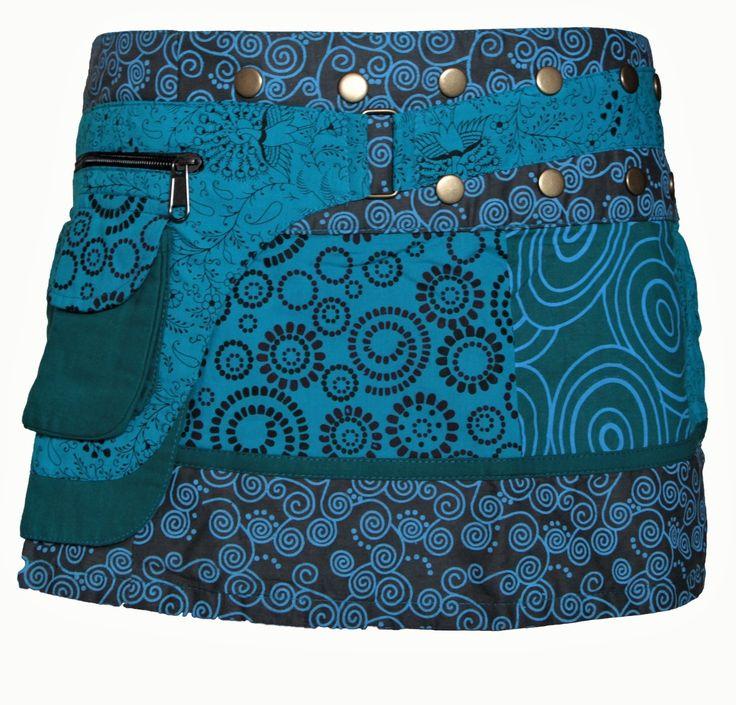 Jupe portefeuille bleu turquoise