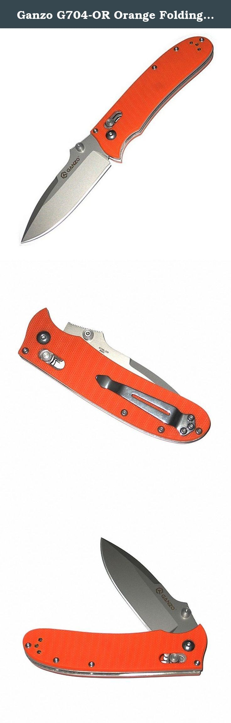 Ganzo G704-OR Orange Folding Knife Camping Knife Hunting Knife EDC Pocket G10 Handle. Modern classic is the knife with drop-point blade and straight sharpening. Ganzo G704 model will be enjoyed by both tourists and hunters, fishermen. High-quality alloy steel 440C (resistant to corrosion) was selected as the blade material. Its hardness is 58-60 units on Rockwell scale allowing to speak with confidence on the knife durability, its resistance to high loads and extreme conditions of use. It…