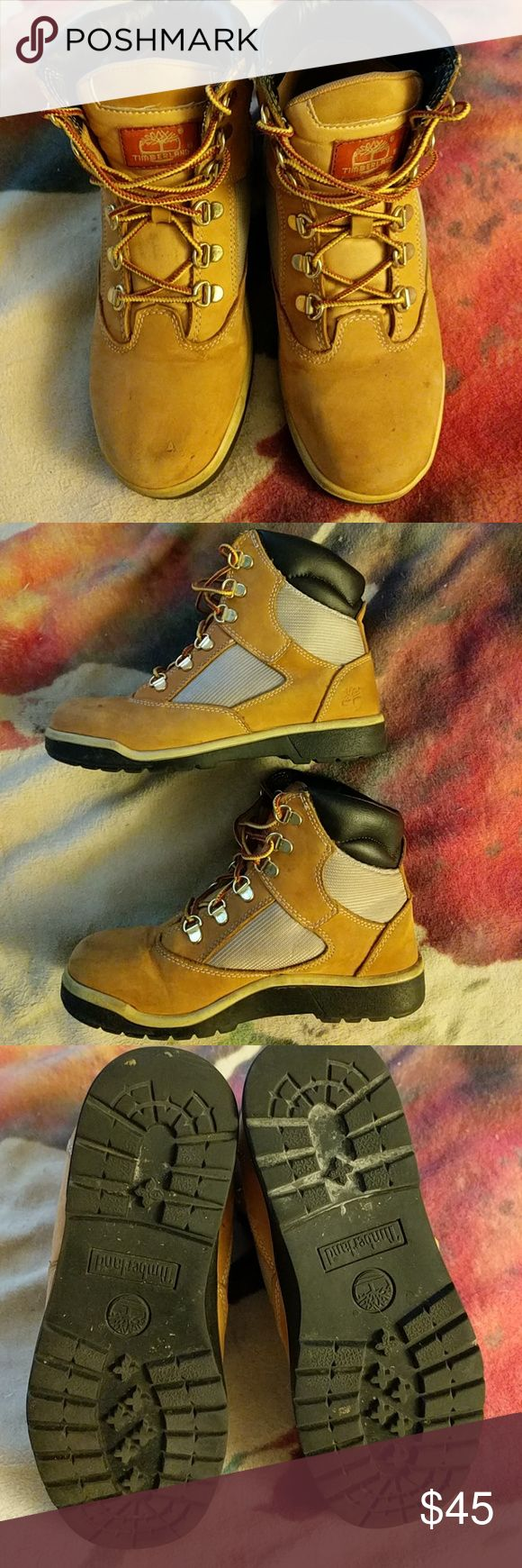 ⚡SALE⚡  Timberland Boots -Tan and beige leather boots -Size 5 (boys), fits 6.5-7 Women's -Great condition, small scuff on toe. Timberland Shoes Lace Up Boots