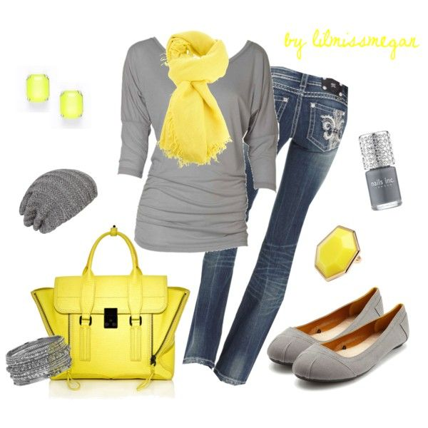 """Grey & Yellow"" by lilmissmegan on Polyvore"
