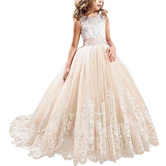 Blumenmädchen Kleid Kinder Prinzessin Lang Abendkleid Hochzeit Kommunionkleider