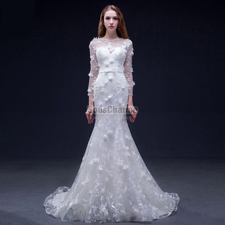 Originale robe de mariée grande taille coupe sirène à broderie fleuries avec manches et traîne