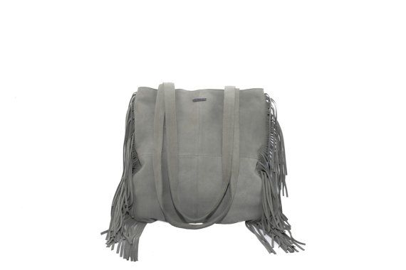 Leather tote Grey Suede Fringe Tote Bag by MONAObags on Etsy