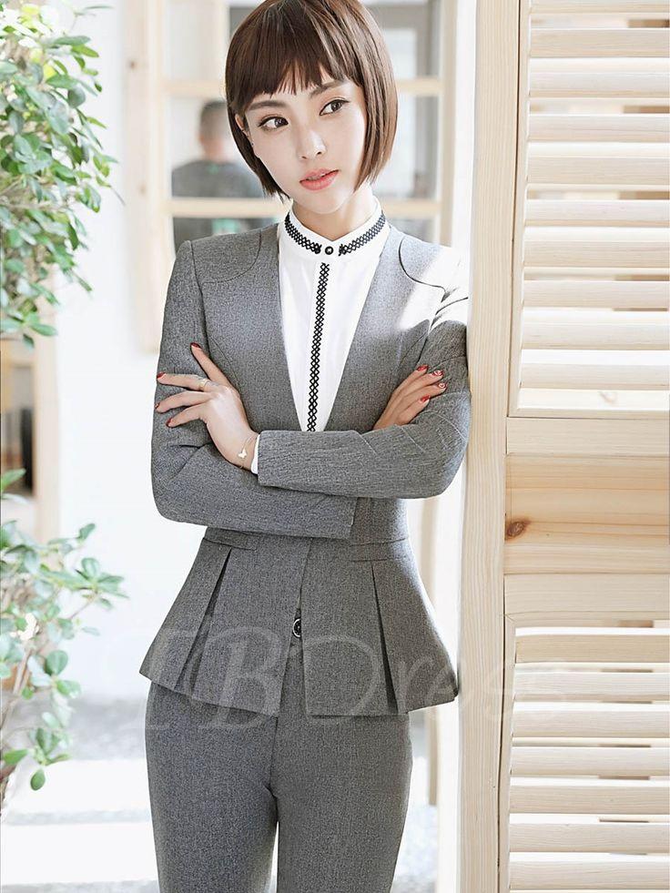 Ruffle Hem Women's Formal Jacket And Pants Suit