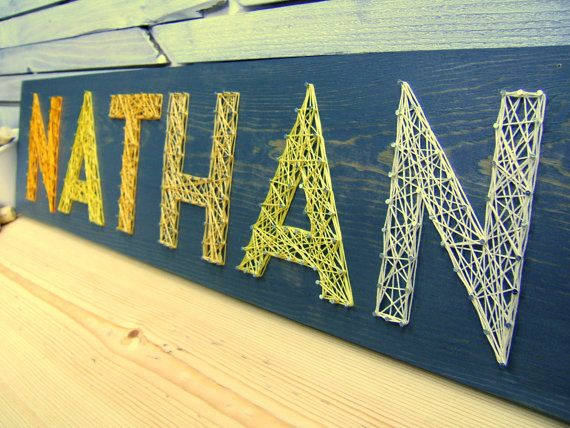 Modern String Art Wooden Name Tablet