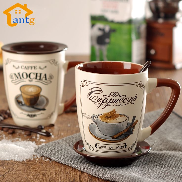 Caneca de porcelana pintados à mão cerâmica xícara de café criativo, De de, Cappuccino, Mocha, Leite colher cinto disco xícara de café em Canecas de Home & Garden no AliExpress.com | Alibaba Group