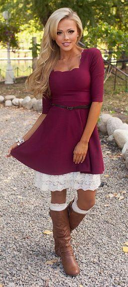 Scalloped Belted Dress Burgundy