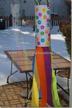 Simple Spring Rainbow Windsock | Crafts for preschoolers are their very best when they are easy to make and fun to enjoy, which makes this colorful decoration such a treat.