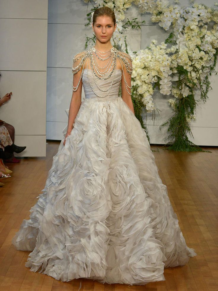 17 best images about new wedding dresses on pinterest for Wedding dresses with pearls and diamonds