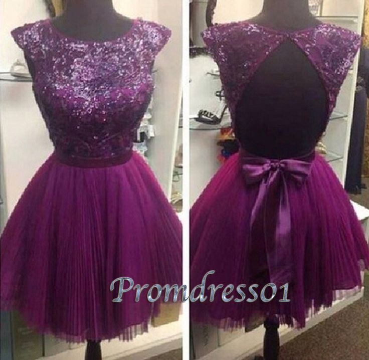purple chiffon backless short prom dress for teens, ball gown, homecoming dress