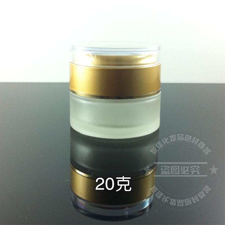 50 piezas al por mayor de 20g tarro cosmético transparente de vidrio esmerilado, proveedores de cosméticos de embalaje, 20g crema para los ojos tarro con tapa de oro mate(China (Mainland))