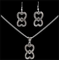 (3DB-EN2160) Double Hearts Necklace and Matching Earrings