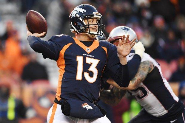 Trevor Siemian (13) of the Denver Broncos throws against the New England Patriots during the third quarter on Sunday, December 18, 2016. The Denver Broncos hosted the New England Patriots. Helen H. Richardson, The Denver Post