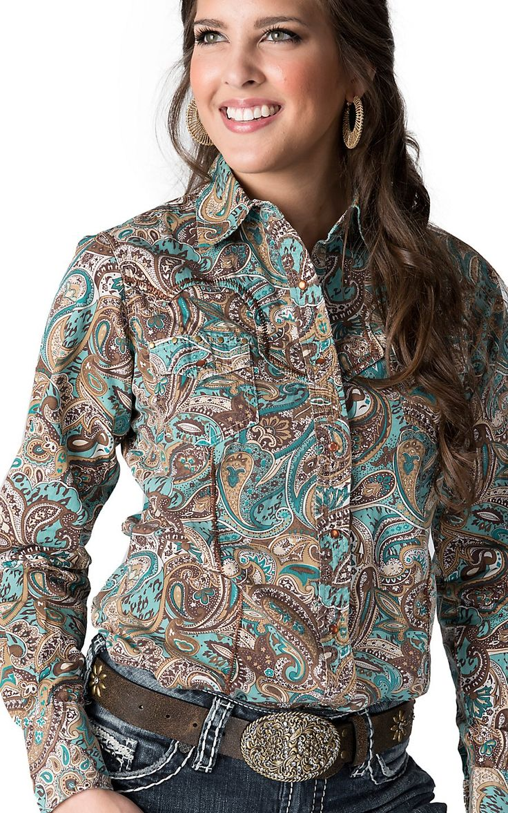Sherry Cervi™ by RU Cowgirl® Women's Turquoise & Brown Paisley L/S Western Shirt