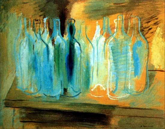 """""""The Bottles"""" (1931) by Yury Annenkov (Russian: """"Бутылки"""" Юрия Анненкова) (23 July [O.S. 11 July 1889] 1889 in Russian Empire – 12 July 1974 in Paris, France) was a Russian artist mostly known for his book illustrations and portraits. He also worked for theatre and cinema (design)"""