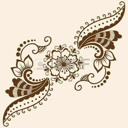 Vector astratta elementi floreali in stile indiano mehndi