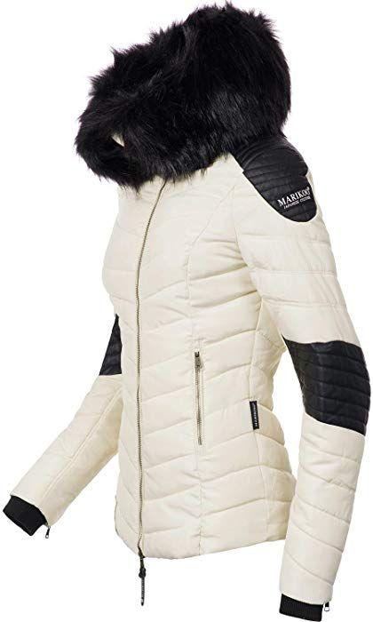 Marikoo Damen Winter Jacke Steppjacke Mamba (vegan hergestellt) Weiß Gr. M   Amazon.de  Bekleidung 598cb02aa3