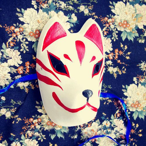 Full Face Hand-Painted Japanese Fox Mask Meiko Kitsune Cosplay Masquerade Party in Collectibles, Cultures & Ethnicities, Asian | eBay