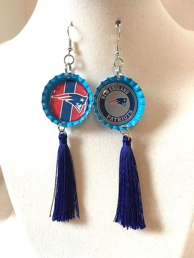 New England Patriots Football Light Blue  Bottle Cap   Tassel  Earrings #handcrafted #NewEnglandPatriots