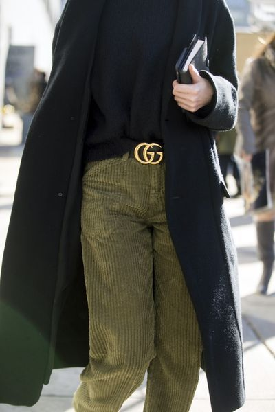 A Gucci Belt Worn With Green Corduroy Pants at New York Fashion Week
