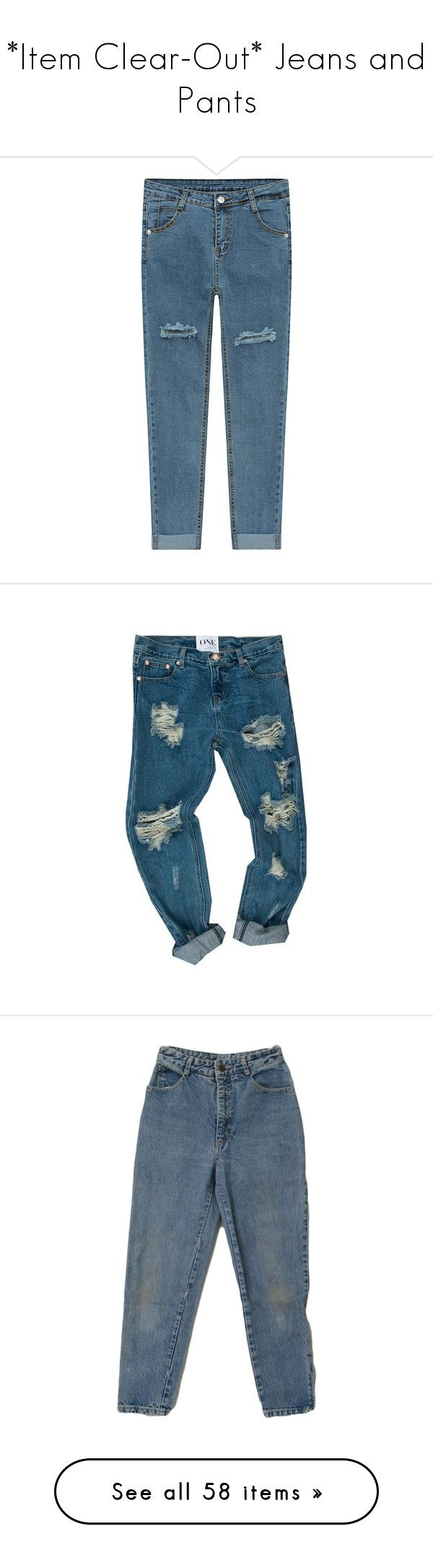 """""""*Item Clear-Out* Jeans and Pants"""" by so-devoid-of-colour ❤ liked on Polyvore featuring jeans, destroyed dark wash, boyfriend fit jeans, destructed boyfriend jeans, rolled up jeans, dark wash boyfriend jeans, torn boyfriend jeans, pants, bottoms and trousers"""